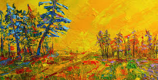 yellow sky painting maple sky landscape modern impressionistic palette knife oil painting by patricia