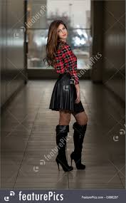 woman in leather skirt royalty free stock picture