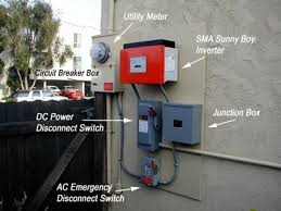 home solar energy switched on power from solar panels comes down from roof via conduit right to dc disconnect switch then to sma inverter where dc is converted to ac