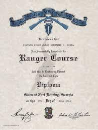 u s army ranger school certificate u s army ranger school certificate