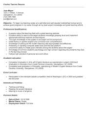 Awesome Collection of Resume Sample For Fresher Teacher In Download Resume