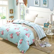 baby blue double duvet cover sky blue flower new contracted 100 cotton bedding sets comfortable duvet