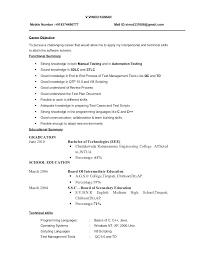 Manual Testing Sample Resumes Best of Manual Testing Resumes Manual Testing Resume Format Us Manual