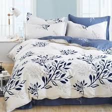 whole blue olive leaf print bed linen set striped plaid bedding sets bohemian bedspread fl bedclothes modern style duvet cover teen bedding duvets
