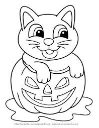 Cat Halloween Coloring Pages Cat In A Pumpkin Coloring Page For Kids