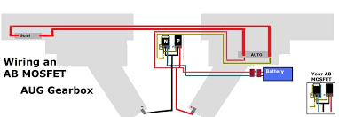 aug mosfet wiring upgrades modifications airsoft forum now both sides of the gearbox are combined know which switch is which this helps to see how the scale of the wires should be