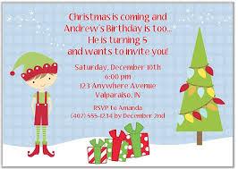 Christmas Birthday Party Invitations Elf Boy Christmas Birthday Party Invitations
