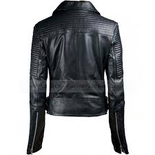 womens biker jacket black quilted leather jacket