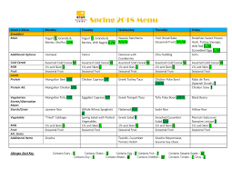Weekly Menu The HCZ Health and Wellness Connection: Weekly Menu
