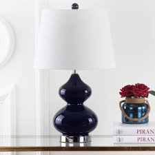 shop safavieh lighting 24inch eva double gourd glass navy table lamp set of 2 on sale free shipping today overstockcom 7570815 navy table lamp v73