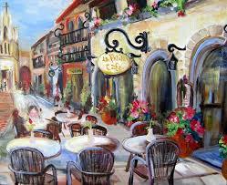 cafe painting la petite cafe by elaine cory