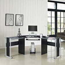 corner computer desk white or black glass l shape pc table home office furniture ebay black glass office desk 1