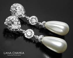 pearl bridal chandelier earrings swarovski teardrop pearl cz earrings white pearl silver dangle earrings wedding bridesmaids pearl jewelry 35 50 usd