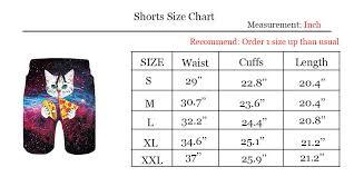 Swim Trunk Size Chart Taco Pizza Cat Swimming Trunks Casual Style Swim Shorts