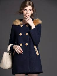 dark blue double ted hooded coat with faux fur collar