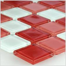 red glass mosaic tiles uk