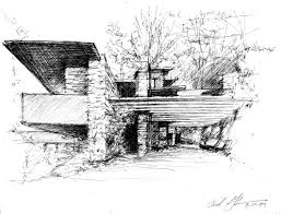 architecture house sketch. Wonderful Sketch Falling Water By Frank Lloyd Wright Sketched Frederick Clifford Gibson  Architect For Architecture House Sketch