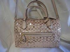 Coach Champagne Leather Gold Sequined Poppy Signature East West Satchel  PERFECT!