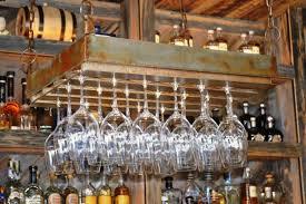 Rustic Bronze Hanging Wine Glass Rack