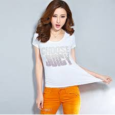 Hot Women's T Shirt For Teen Girls Summer Style Plus Size Sexy T shirt  Cotton Printed Tshirts Beading Women Tops Black White-in T-Shirts from  Women's ...