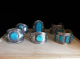 bulk lot 6 light blue stone accents tribal bracelets central asian jewelry re vending gifts haflas