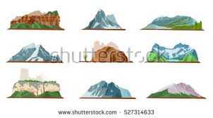 Nature Mountain Silhouette Elements Set Outdoor Stock Vector 2018