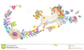 Cute Watercolor Design With Magic Unicorn And Flowers Stock