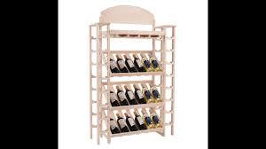 34 Bottles Wood Wine Rack Display Shelf