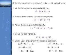 solve the quadratic equation x2 9x 14 by factoring