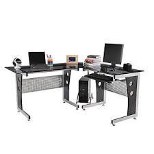 office workstation desks. plain desks image is loading homcom64modernlshapedglasstopofficeworkstation inside office workstation desks