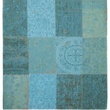 Vintage Azur Blue Square Patchwork Rug - Louis De Poortere