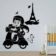 stylish scooter with eiffel tower wall decal