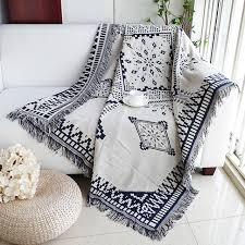 Dream Catcher Blankets Cotton black white Jacquard Blanket for Sofa Cover Living Room 95