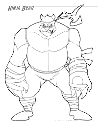 Ninja Bear Coloring Page