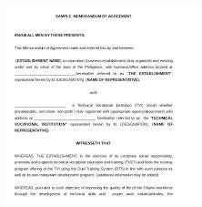 Memorandum Sample Memorandum Of Understanding Samples Templates Awesome Agreement