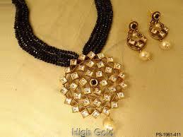 Polki Pendant Set Designs Kite Shape Rounded Designer Pendant Polki Jewellery