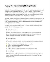 Minute Taking Templates Typing Up Minutes Template