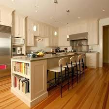 kitchen island love the book shelf on end with shelves and seating open