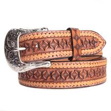 bootdaddy mens western tooled lace trim belt tan