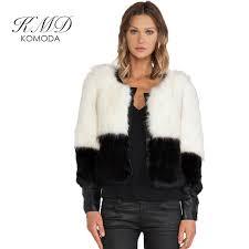 kmd komoda women winter black faux fur coat long sleeve faux fur outerwear lady short style fur jacket color block jackets coat womenwinter coat womenfaux