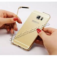 samsung galaxy s6 gold case. best price luxury metal aluminum bumper with mirror hard back case for samsung galaxy s6 edge gold