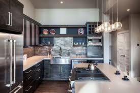 kitchen modern rustic. Modern Rustic Kitchen Images White Bar Stools Seats Backrests Splashback Tiles Brick Pattern Marble Countertops Beautiful Chandelier Over The