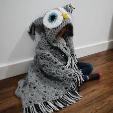 Owl Hooded Blanket Crochet Pattern