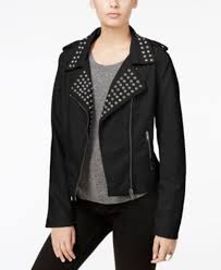 fair child women s new studded faux leather moto jack black size xs