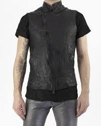 m ojo risin description diagonal zip leather vest