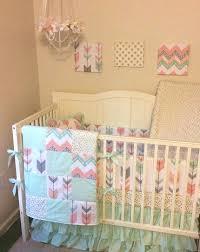 mint peach crib bedding c and fl fawn baby girl set