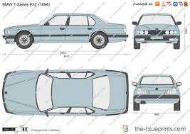 BMW Convertible 1990 bmw 750 : The-Blueprints.com - Vector Drawing - BMW 7-Series E32