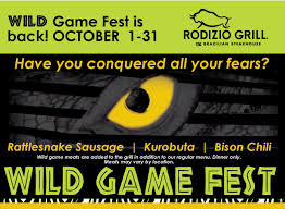 rattlesnake sausage october is wild game fest at rodizio grill in stamford