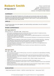 Accounts Receivable Specialist Resumes Ar Specialist Resume Samples Qwikresume