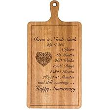 personalized 5th year anniversary gift for him her wife husband couple cheese cutting board customized with